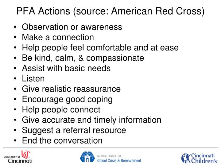 PFA Actions (source: American Red Cross)