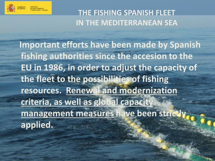 Important efforts have been made by Spanish fishing authorities since the accesion to the EU in 1986, in order to adjust the capacity of the fleet to the possibilities of fishing resources.