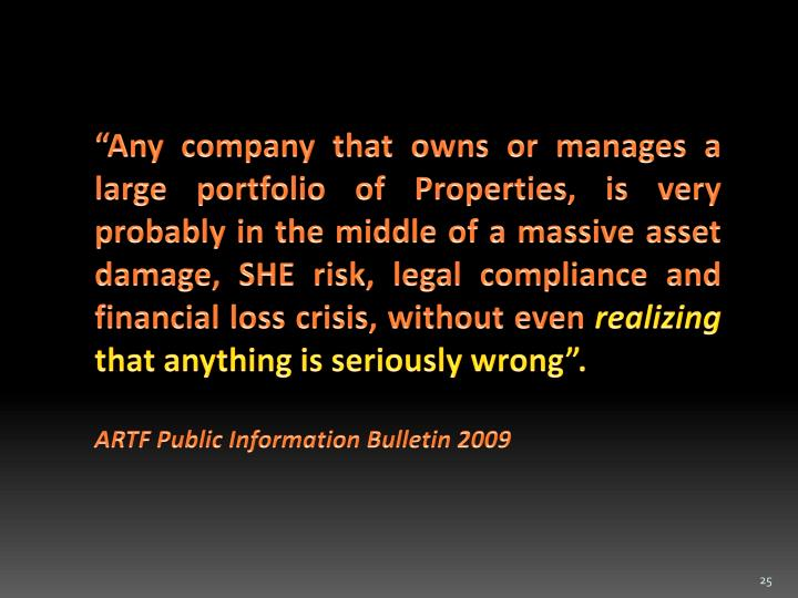 """Any company that owns or manages a  large portfolio of Properties, is very probably in the middle of a massive asset damage, SHE risk, legal compliance and financial loss crisis, without even"
