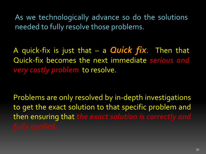 As we technologically advance so do the solutions