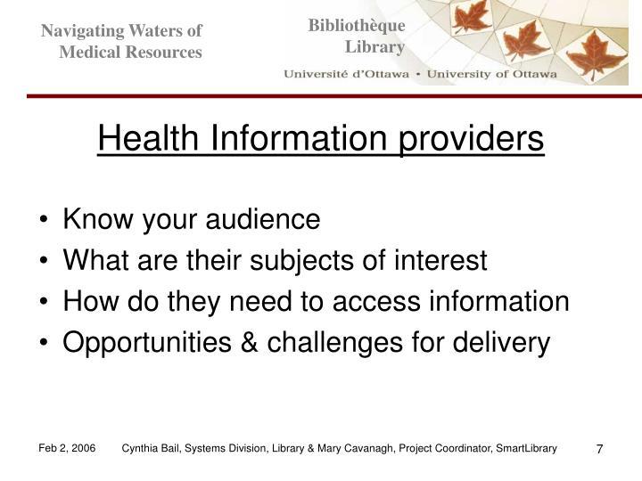 Health Information providers