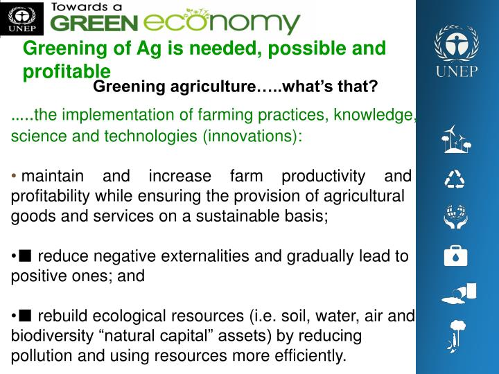 Greening of Ag is needed, possible and profitable