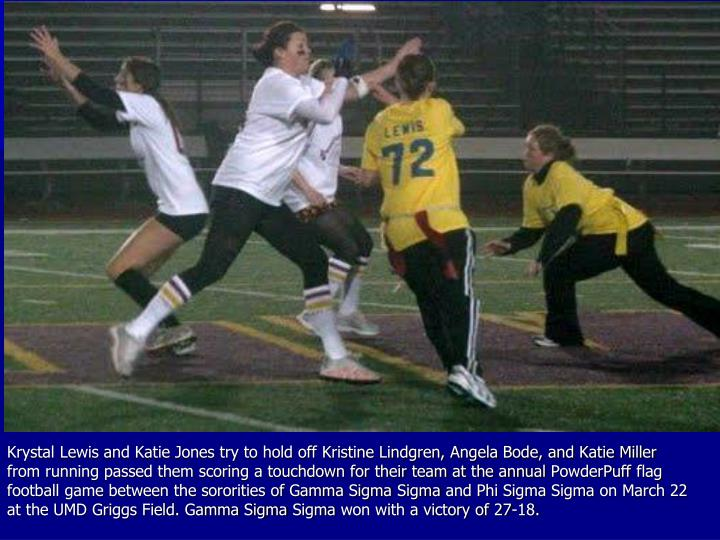 Krystal Lewis and Katie Jones try to hold off Kristine Lindgren, Angela Bode, and Katie Miller from running passed them scoring a touchdown for their team at the annual