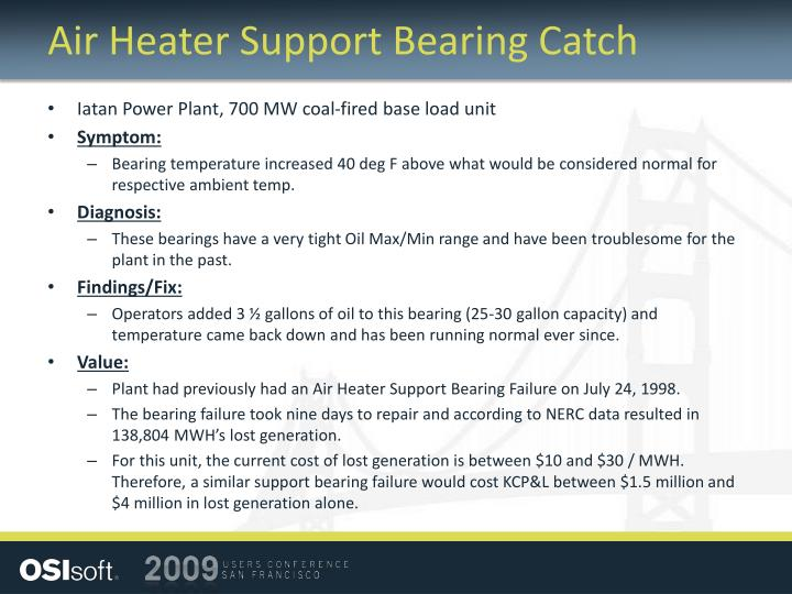 Air Heater Support Bearing Catch