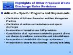 highlights of other proposed waste discharge rules revisions1