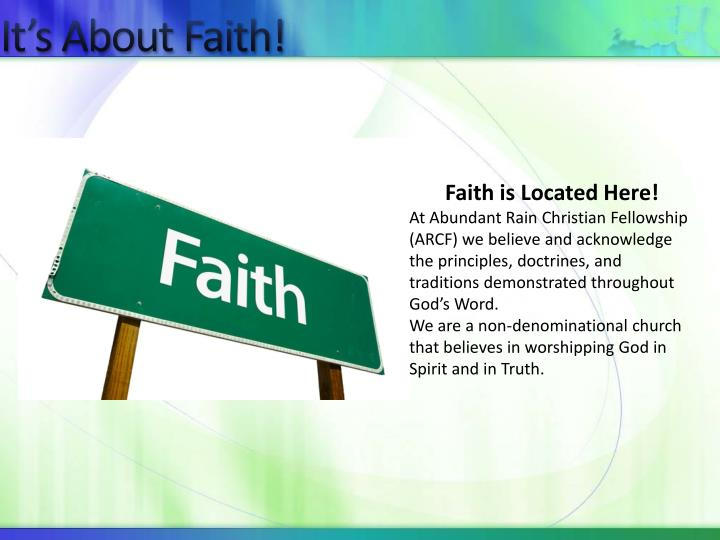 It s about faith