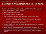 deferred maintenance in finance