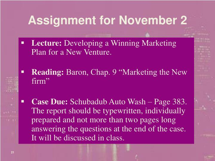 Assignment for November 2