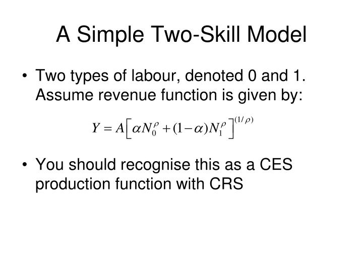 A Simple Two-Skill Model