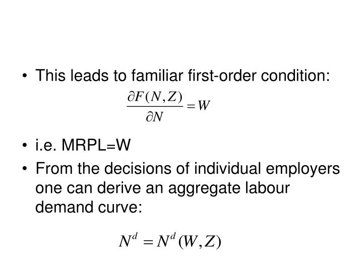 This leads to familiar first-order condition:
