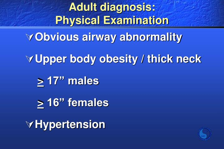 Adult diagnosis: