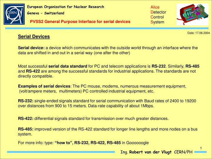 PVSS2 General Purpose Interface for serial devices