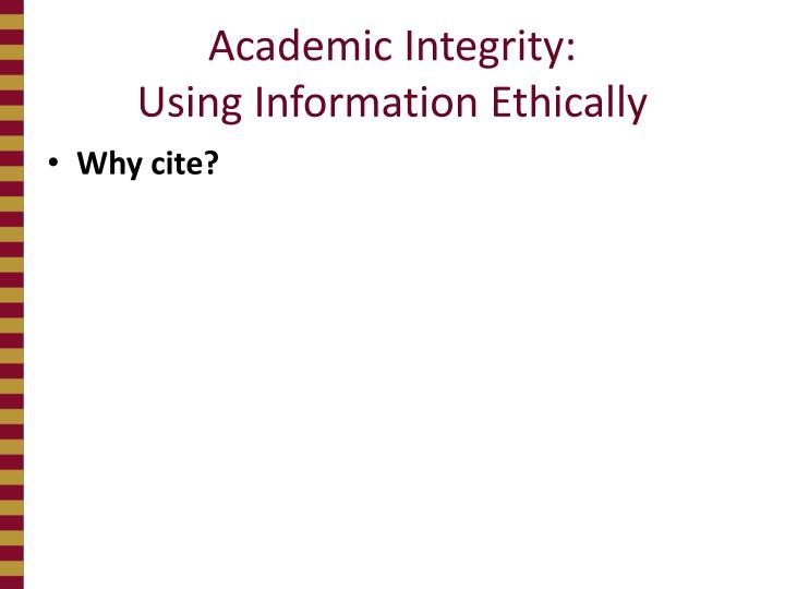 Academic Integrity: