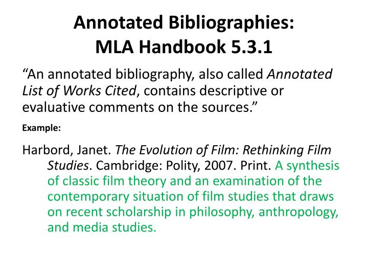 Annotated Bibliographies: