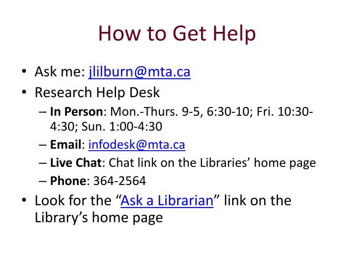 How to Get Help