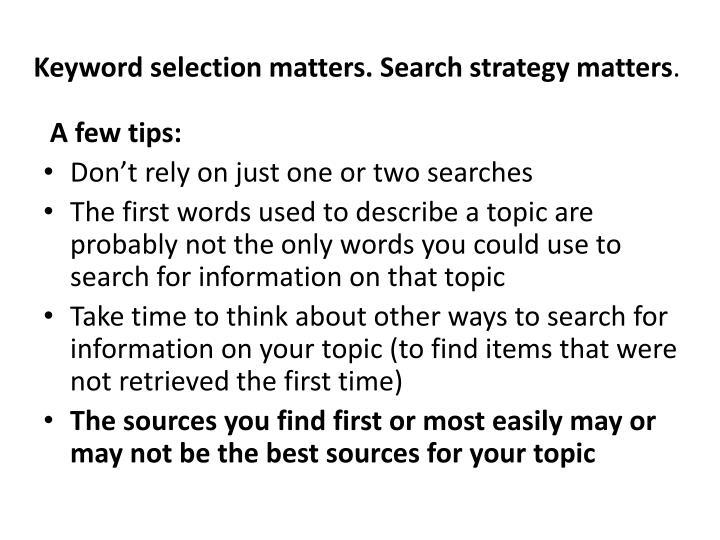Keyword selection matters