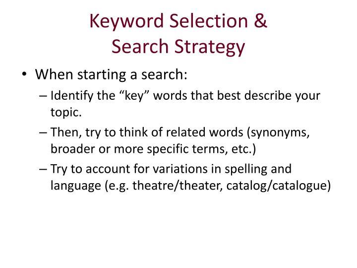 Keyword Selection &
