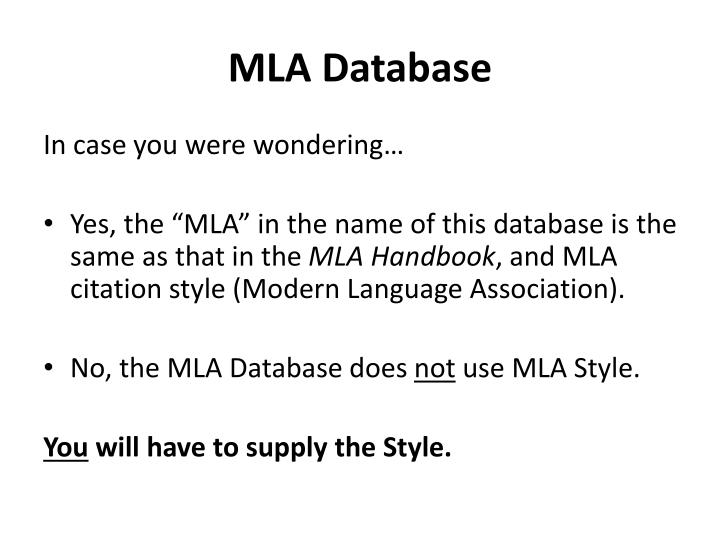 MLA Database
