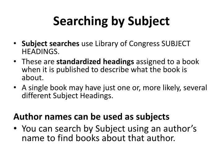 Searching by Subject