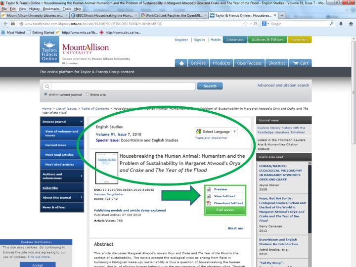 MLA Main Search page