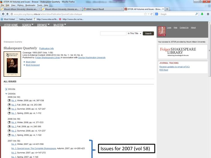 This journal is available in four library databases.  Note that the years available vary from one database to another.