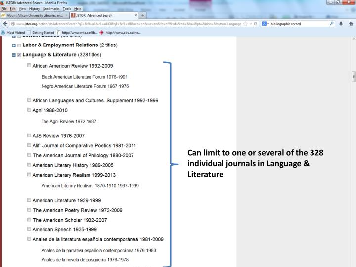 Can limit to one or several of the 328 individual journals in Language & Literature