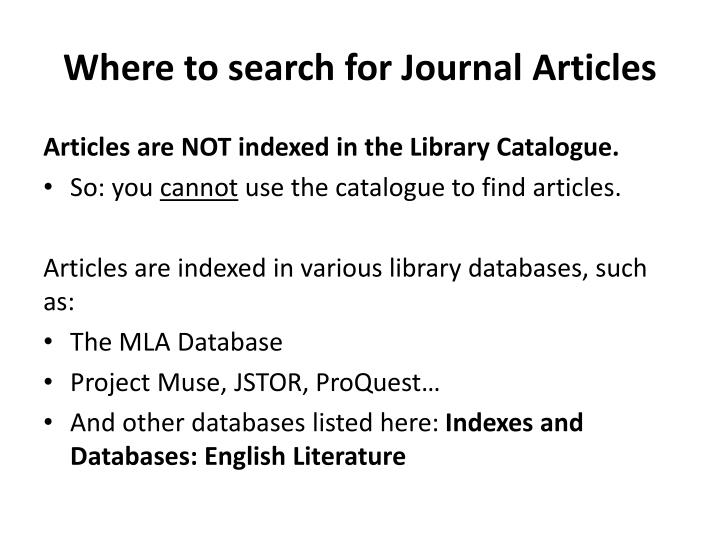 Where to search for Journal