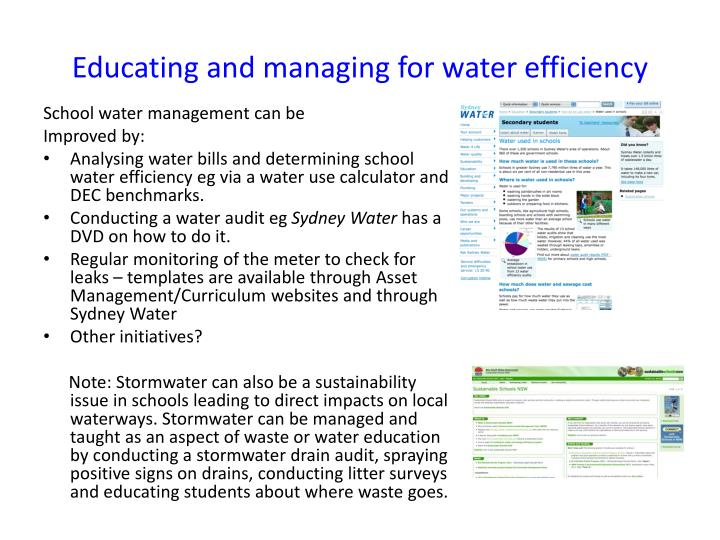 Educating and managing for water efficiency