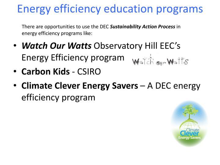 Energy efficiency education programs