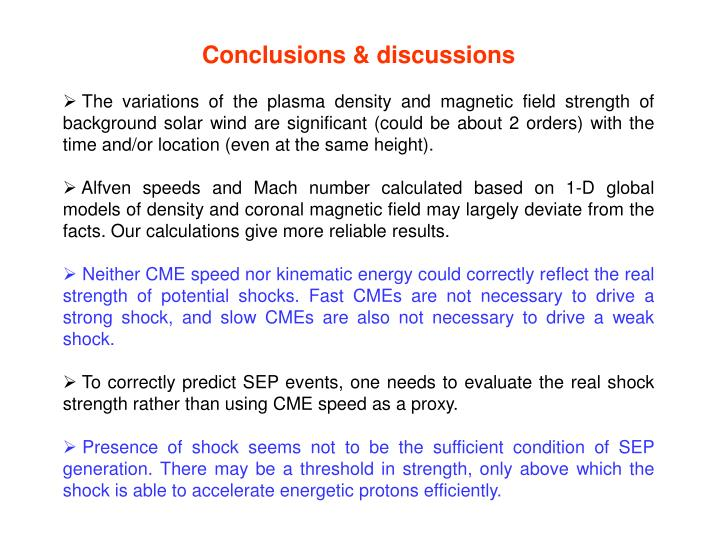 Conclusions & discussions