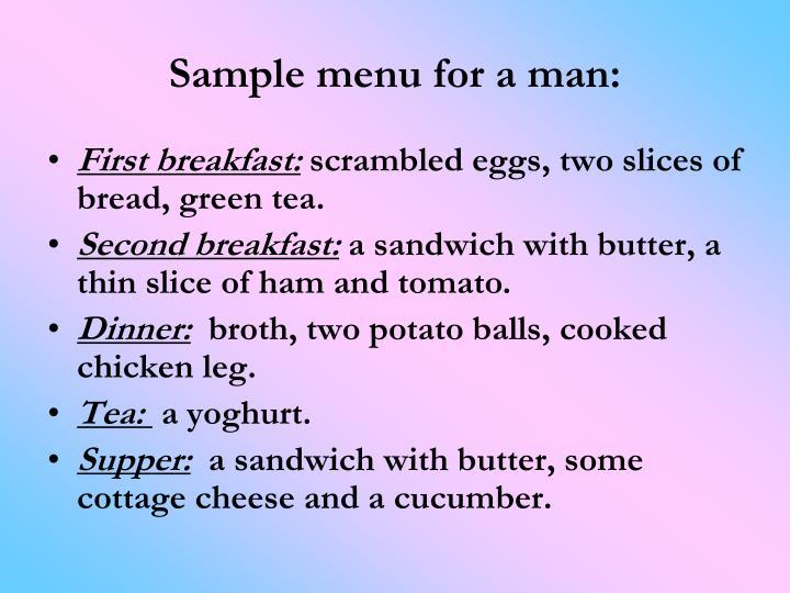 Sample menu for a man:
