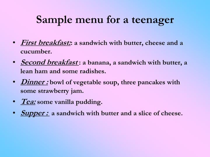 Sample menu for a teenager