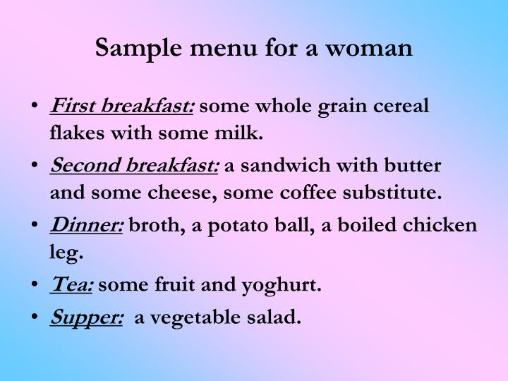 Sample menu for a woman