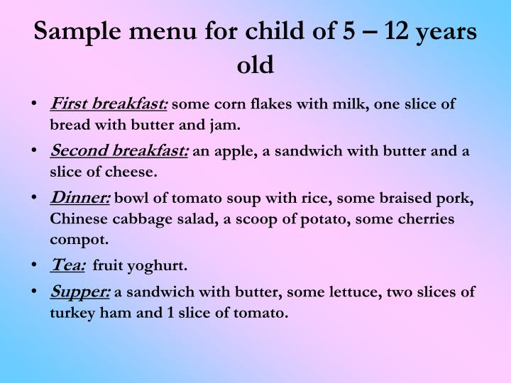 Sample menu for child of 5 – 12 years old