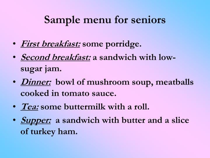 Sample menu for seniors