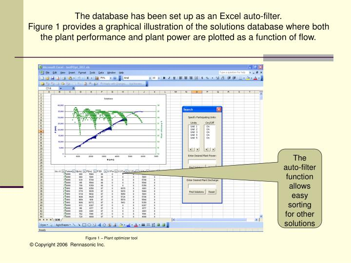 The database has been set up as an Excel auto-filter.