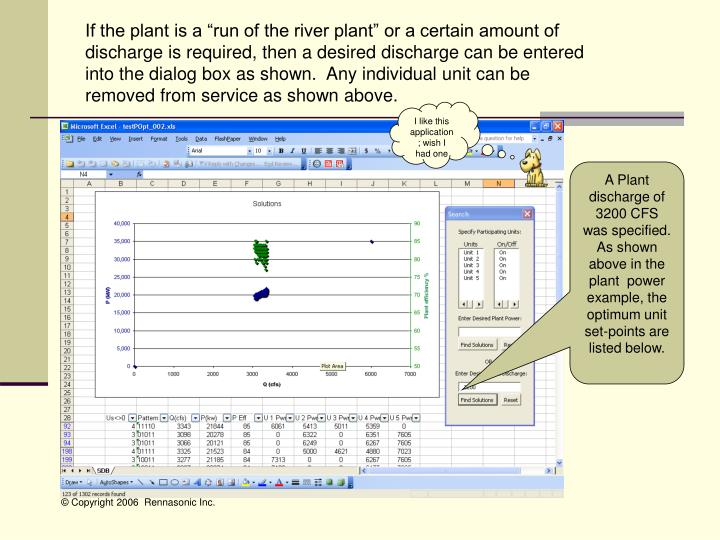 """If the plant is a """"run of the river plant"""" or a certain amount of discharge is required, then a desired discharge can be entered into the dialog box as shown.  Any individual unit can be removed from service as shown above."""