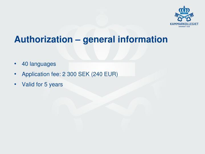 Authorization – general information