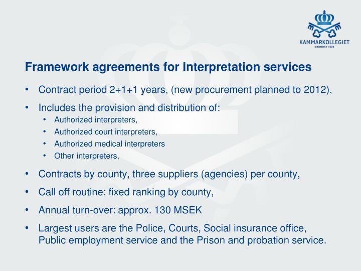 Framework agreements for Interpretation services