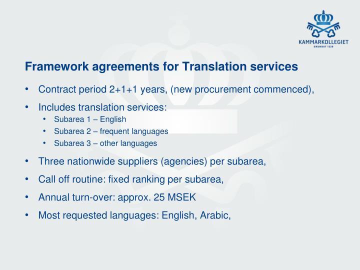 Framework agreements for Translation services