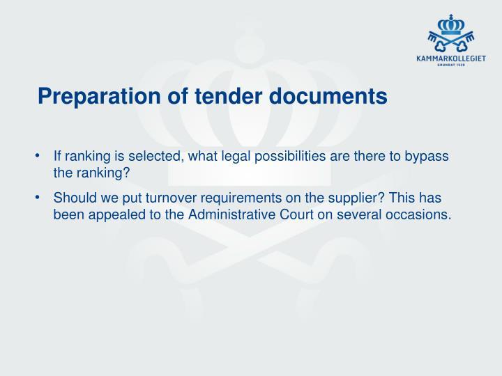 Preparation of tender documents