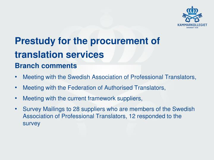 Prestudy for the procurement of translation services