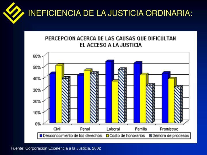 INEFICIENCIA DE LA JUSTICIA ORDINARIA: