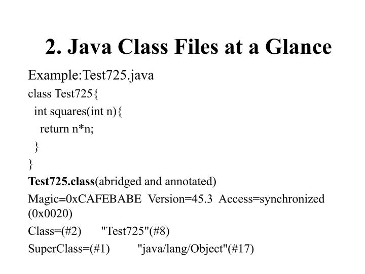 2. Java Class Files at a Glance