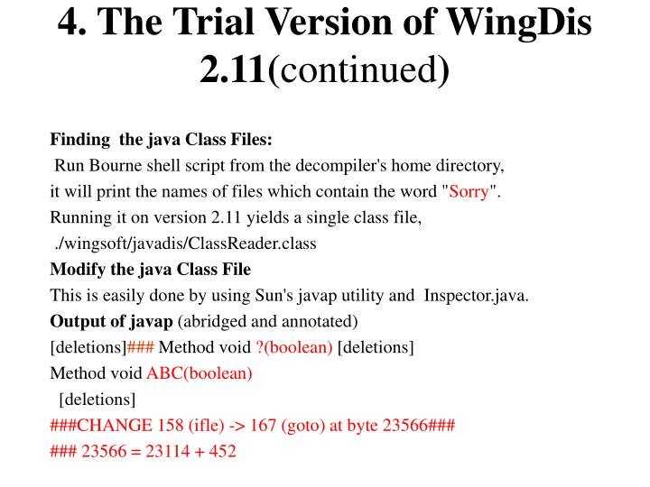 4. The Trial Version of WingDis 2.11(
