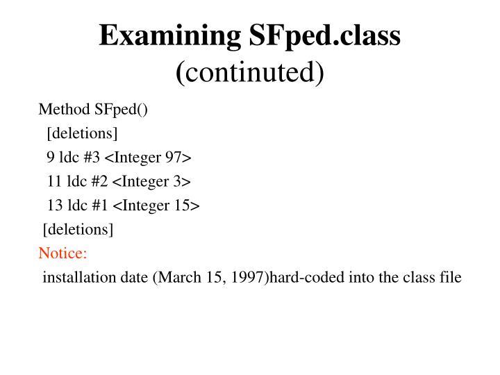 Examining SFped.class (