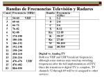 bandas de frecuencias televisi n y radares