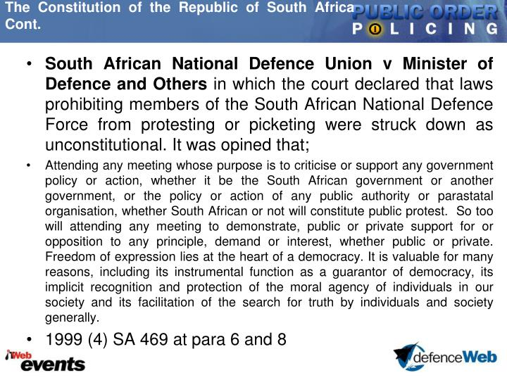 The Constitution of the Republic of South Africa Cont.