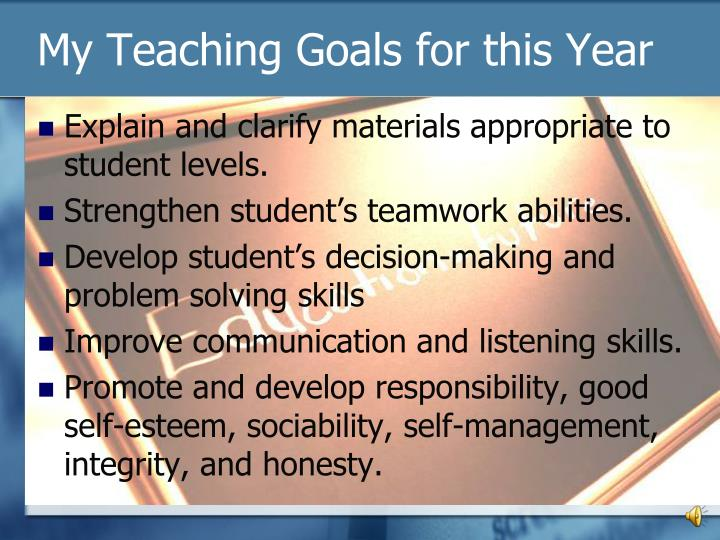 My Teaching Goals for this Year