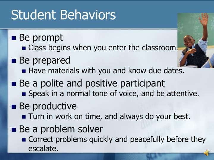 Student behaviors